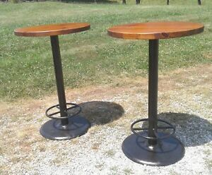 2 Round Tall Wooden Bistro Tables Foot Rest Industrial Bar Cafe Coffee Vintage