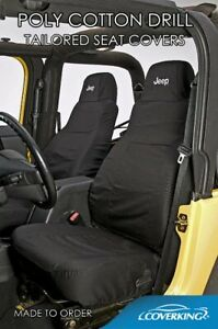 Coverking Poly Cotton Drill Front Rear Custom Seat Covers For Jeep Wrangler Tj