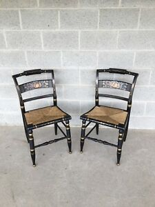 Pair Of Authentic Hitchcock By Lock 1776 Rush Bottom Black Harvest Side Chairs