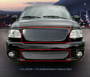 Billet Grille Grill Combo 2 Pcs Fits 1999 2003 Ford F 150 Lightning