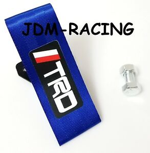1pcs Blue Jdm Trd Racing Drift Rally Car Tow Towing Strap Belt Hook For Toyota