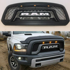 Black Upper Front Grille Grill Rebel Style For Dodge Ram 1500 2013 2018 Letter