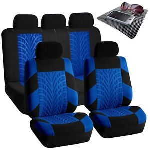 Universal Seat Covers For Auto Car Suv Van Blue Black Full Set W Dash Mat