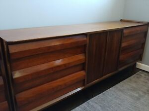 Lane Mid Century First Edition Collection Long Dresser Louvered Front Drawers