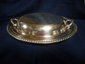 Vintage Ornate Silver Plate Serving Bowl Cover Lid With Handles Ds218