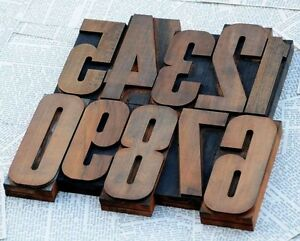0 9 Numbers 4 92 5 71 Letterpress Wood Type Woodtype Number Set Vintage Old