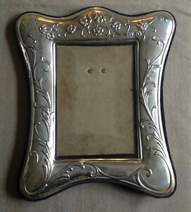 Vintage Ornate Silver Plate Picture Frame Signed Art Nouveau Style Flowers