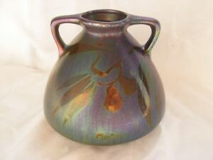 Montieres French Art Deco Iridescent Ceramic Vase Signed 1930 Years