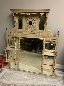 Antique Eastlake Victorian Wooden Carved Beveled Mirror