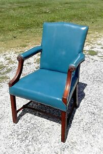 Mahogany Library Office Arm Chair Teal Blue Vinyl Upholstery Circa 1930 Antique