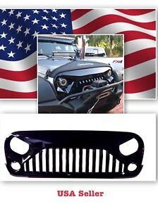 07 16 Jeep Wrangler Gladiator Vader Angry Bird Ii Gloss Black Abs Grille
