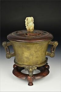 Chinese Xuande Mark Period Bronze Tripod Censer W Figural Elephant Feet