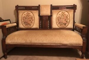 Eastlake Victorian Antique Settee Love Seat Carved Wood Parlor Bench 19th Cent
