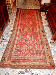 Antique Persian Oriental Carpet Runner Estate Rug 115 By 46 Inches