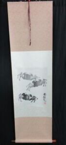 Vintage Chinese Or Japanese Crab Ink Scroll Painting Signed Marked