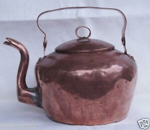Rare Antique Large American Copper Hot Water Kettle Cirka 1800 Has 4 Symbols