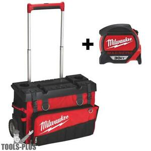 Milwaukee 48 22 8220 24 Hardtop Rolling Bag 30 Magnetic Tape Measure New