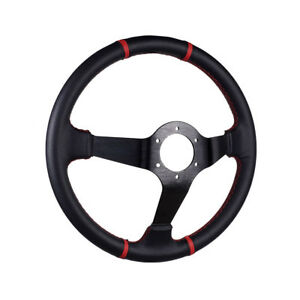 35cm Car Racing Sport Drift Steering Wheel Pu Leather Stitching With Horn Button