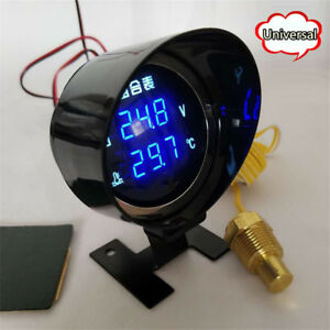 Universal Blue Led Digital Auto Car Water Temp Temperature Meter Voltmeter Gauge