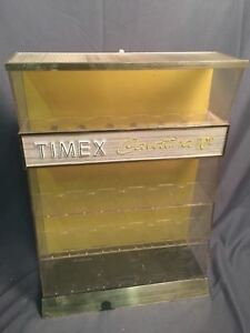 Timex Display Case Vintage Cavatina Yellow Back Curio Store Countertop Cabinet