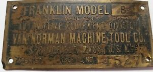 Antique Franklin Car Brass Tag Emblem Model B Serial 4527 Springfield Mass Rare