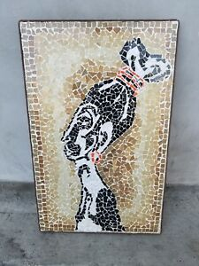 Mid Century Modern Tile Mosaic Wall Art 1964 African Woman Abstract