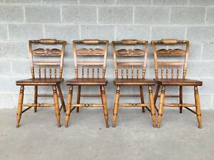 L Hitchcock Set Of 4 Maple Eagle Back Inn Chairs Dining Side Chairs