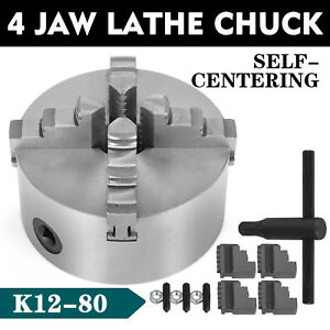4 Jaw Lathe Chuck 80mm Self centering Hardened Reversible Mounting Tool K12 80