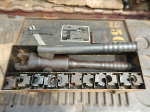 Burndy Y34a Hypress Hydraulic Crimper With Case And Dies Crimping