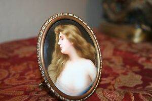 Vintage Hand Painted Portrait Porcelain Signed By Wagner In Frame