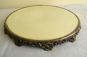 Antique Victorian Beveled Glass Plateau Mirror Footed Vanity Tray Perfume 14
