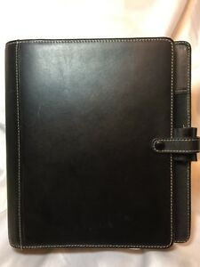 Filofax Classic A5 Hamilton Organizer Black Leather Planner Binder Notepad