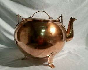 Antique Large Arts Crafts Copper Kettle 42 Cup Marked