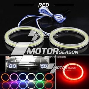 2x 75mm Red Cob Led Angel Eyes Halo Ring Headlight Drl Bulb Lamps Cover