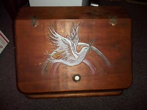 Wood Storage Box Bread Box Front Door Access Hinged Hand Painted Dove Nice