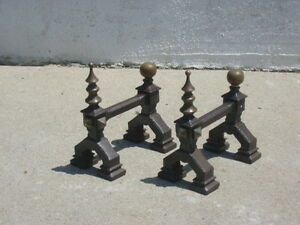 Ant Vtg Cast Iron Brass Fireplace Mantle Stands Miniature Andirons