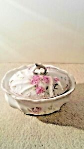 Porcelain Oval Box 3 5 With Hand Painted Pink Flowers 2 3 4 High