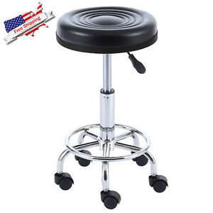 Commercial Pneumatic Swivel Bar Counter Work Stool Chair Cushion Seat Wheels New