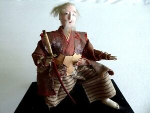 Antique Japanese Edo Samurai Ningyo Warrier Doll W Sword On Base Glass Eyes 7
