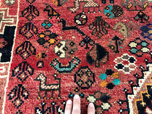 6x9 Caucasian Persian Rug Antique Hand Knotted Wool Foundation Rugs Red Blue 5x8
