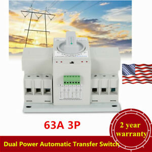 63a 3p Dual Power Automatic Transfer Switch Self Cast Cb Level Usa