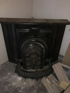 Antique Victorian Cast Metal Fire Place With Arched Aperture And Fender