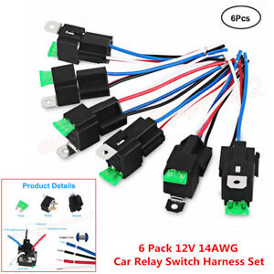 6pc 30a Ato Atc Blade Fuse 4 Pin Spst Automotive Electrical Relays 14 Awg Wires