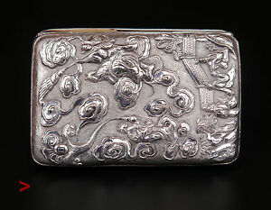 1900 Antique Chinese Solid Silver Cigar Or Cigarette Case 178g