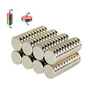 1 100pcs Small Rare Earth N52 Super Strong Magnets Cylinder Ring Fridge Magnet