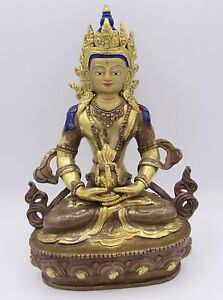Antique Nepalese Aparmita Buddha Parcel Gilt Copper 8