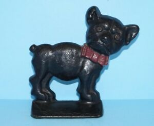 Antique Whimsical Dog With Glass Eyes Cast Iron Doorstop Circa 1920 S