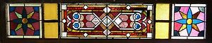 Victorian Stained Glass Window With Jewels And Bevels 16 By 70