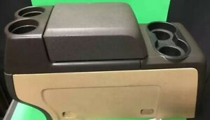 2011 F150 Front Center Console Complete Assy W Cup Holders Cubby 12v Brown Tan