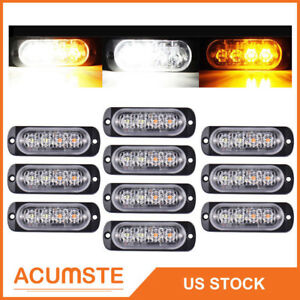 48 88 Led Emergency Warning Strobe Light Bar Flash Tow Truck Amber White Usa